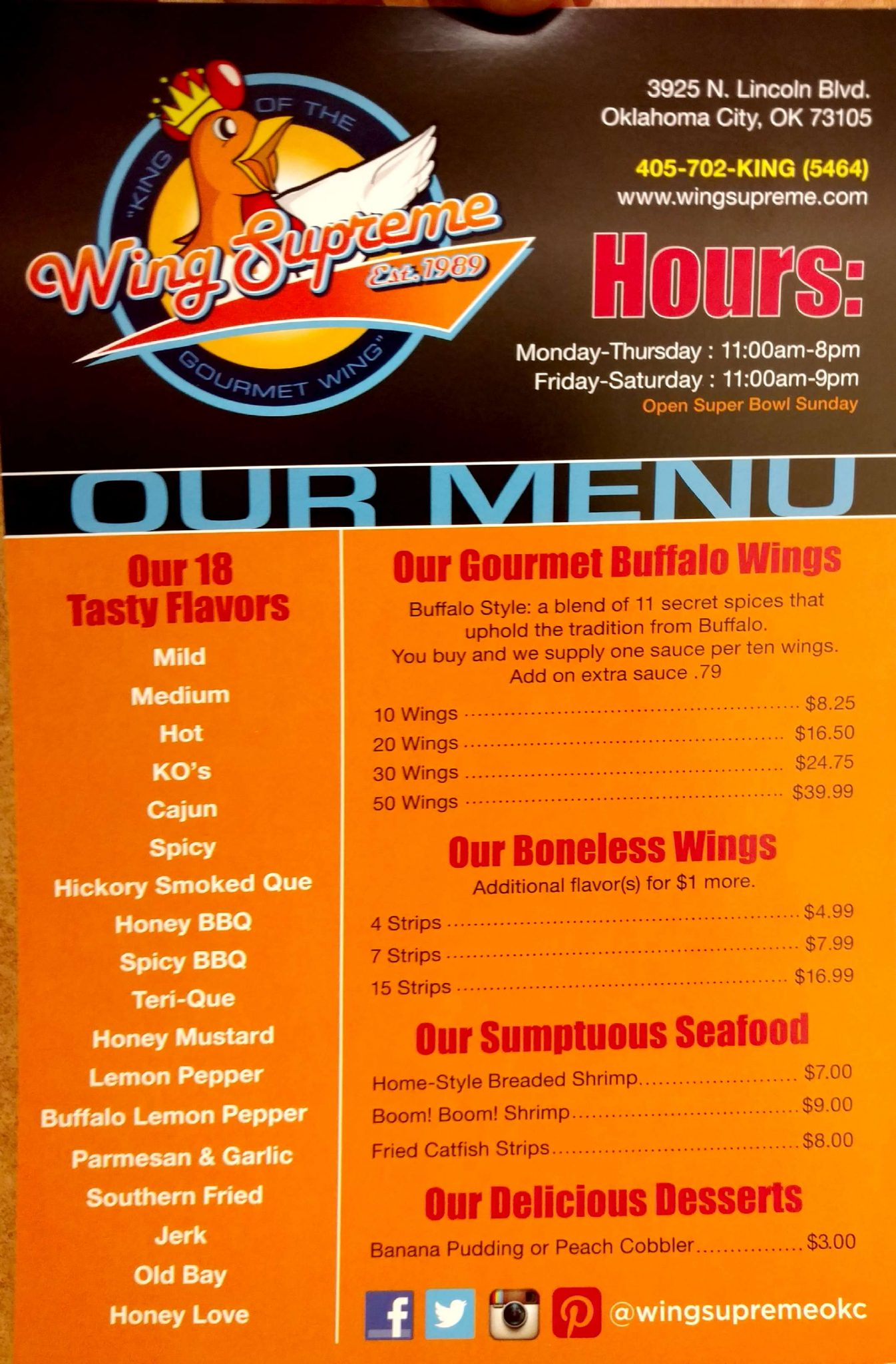 Wing Supreme ⋆ Menu